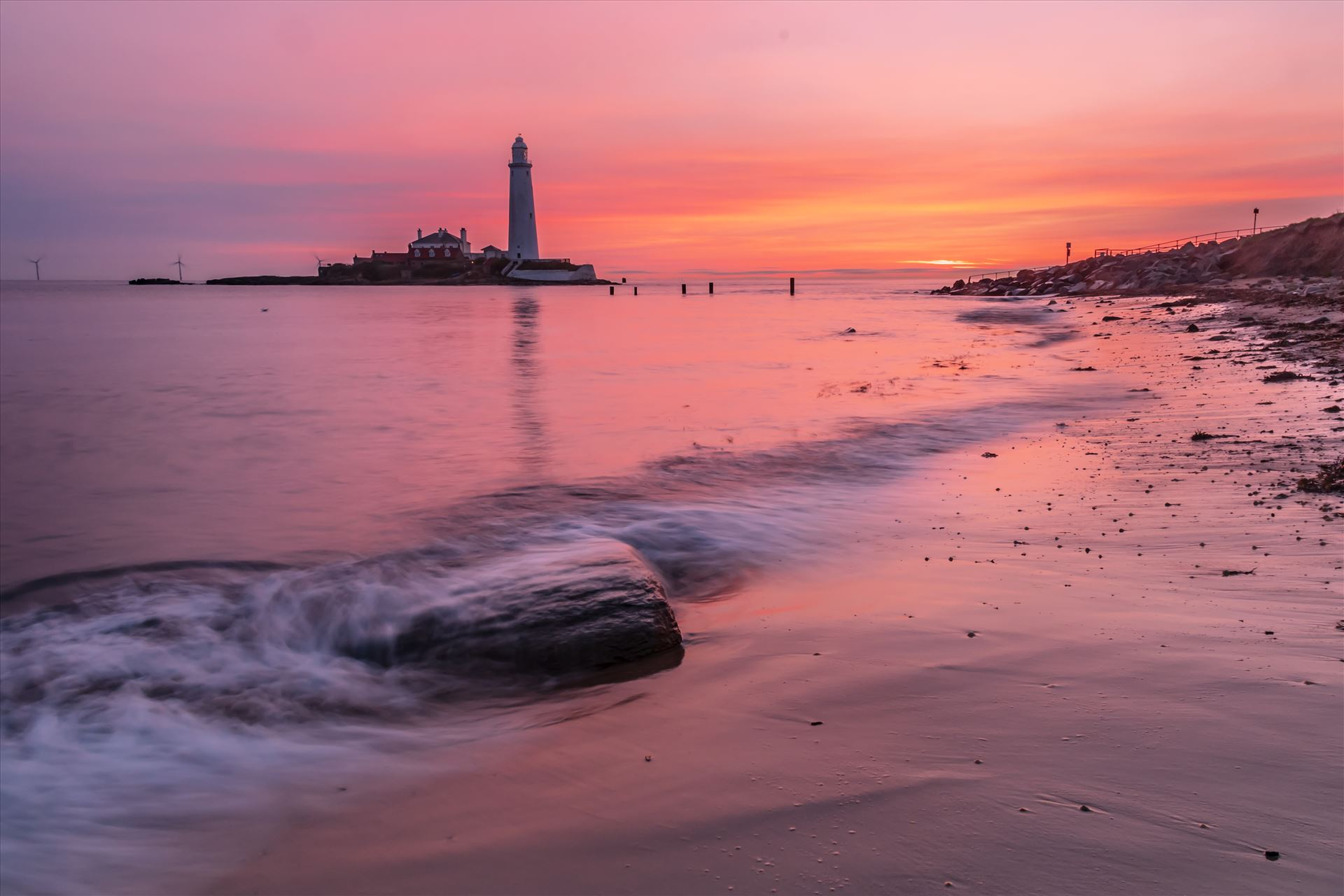 Sunrise at St Mary`s lighthouse & island, Whitley Bay 004 -  by philreay