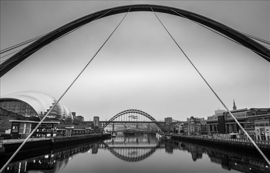 Looking up river from the Millennium Bridge towards the Tyne, Swing & High Level Bridges