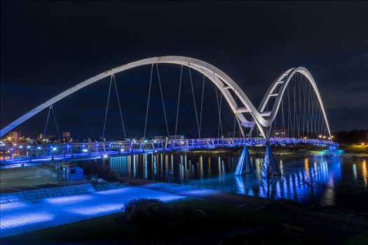 The Infinity Bridge 10 - The Infinity Bridge is a public pedestrian and cycle footbridge across the River Tees that was officially opened on 14 May 2009 at a cost of £15 million.