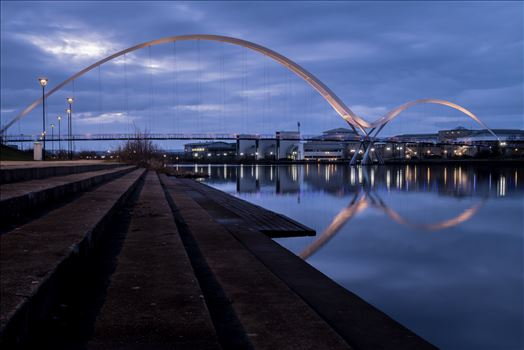 The Infinity Bridge 03 - The Infinity Bridge is a public pedestrian and cycle footbridge across the River Tees that was officially opened on 14 May 2009 at a cost of £15 million.