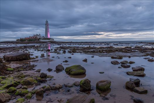 St Mary`s lighthouse, Whitley Bay - St Mary`s lighthouse stands on a small rocky tidal island is linked to the mainland by a short concrete causeway which is submerged at high tide. The lighthouse was built in 1898 & was decommissioned in 1984, 2 years after becoming automatic.