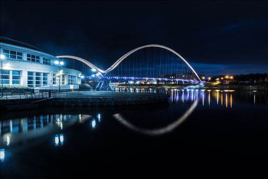 The Infinity Bridge 07 - The Infinity Bridge is a public pedestrian and cycle footbridge across the River Tees that was officially opened on 14 May 2009 at a cost of £15 million.