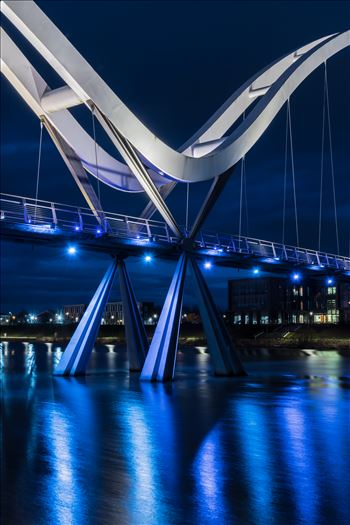 The Infinity Bridge is a public pedestrian and cycle footbridge across the River Tees that was officially opened on 14 May 2009 at a cost of £15 million.