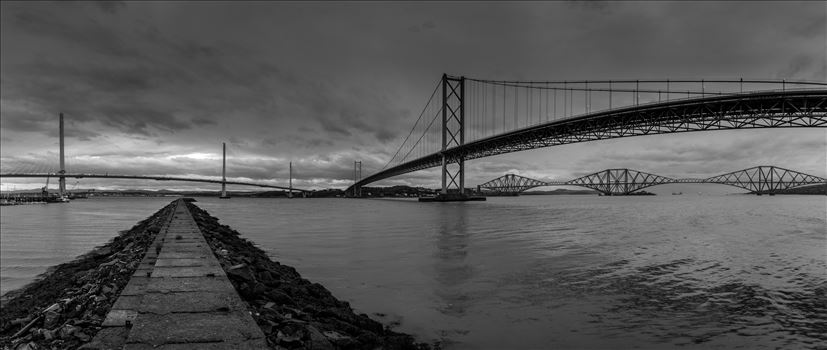 Bridges across the Forth - This panoramic shot shows the 3 bridges spanning the Firth of Forth nr Edinburgh.