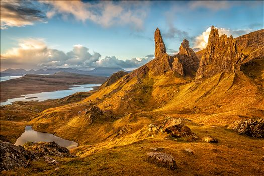The Old Man of Storr - The Storr is a rocky hill on the Trotternish peninsula of the Isle of Skye in Scotland. The hill presents a steep rocky eastern face overlooking the Sound of Raasay, contrasting with gentler grassy slopes to the west.