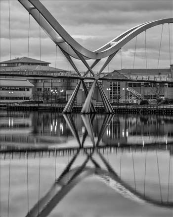 The Infinity Bridge 02 - The Infinity Bridge is a public pedestrian and cycle footbridge across the River Tees that was officially opened on 14 May 2009 at a cost of £15 million.