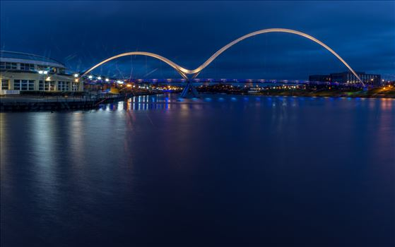 The Infinity Bridge 15 - The Infinity Bridge is a public pedestrian and cycle footbridge across the River Tees that was officially opened on 14 May 2009 at a cost of £15 million.