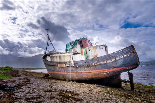 "The Corpach wreck - She has become known as, ""The Corpach Wreck,"" however, her real name is MV Dayspring. Due to a raiser chain failure during a heavy storm she ran aground near the Corpach Sea Lock on the 8th December 2011 and has lain there ever since."
